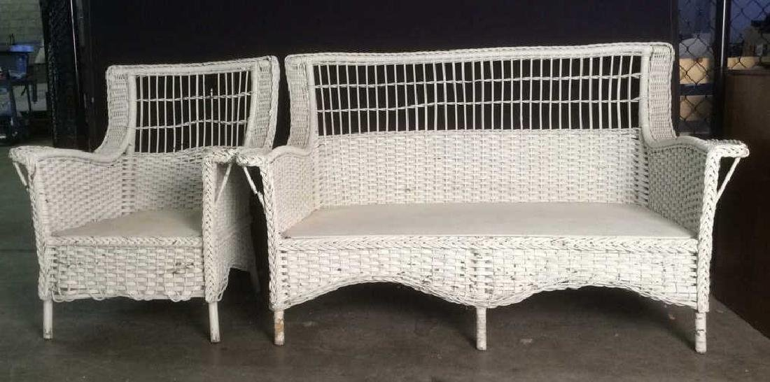 Set 2 Vintage Wicker Bench Sofa & Chair