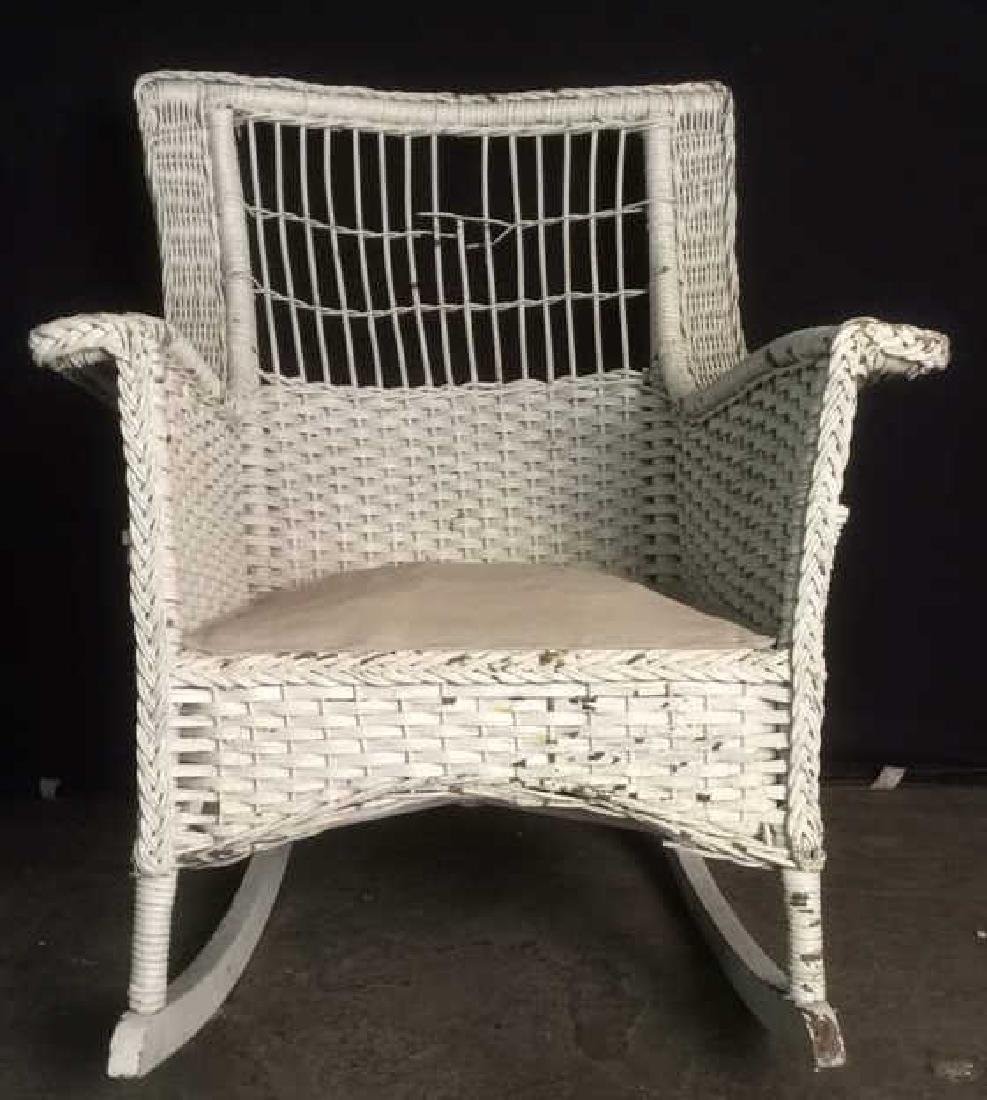 White Toned  VIntage Wicker Rocking Chair