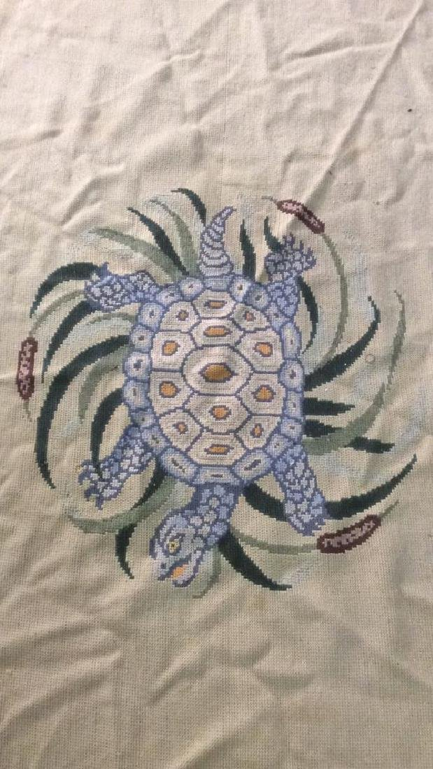 Turtle & Leaf Detailed Hand Made Wool Rug