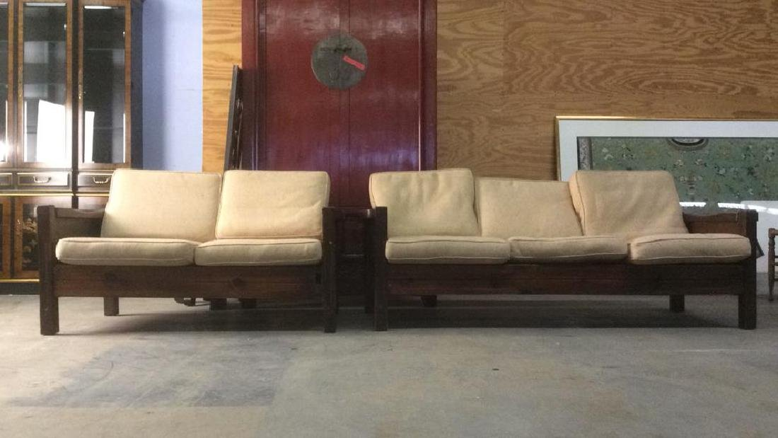Lot 2 Wood Upholstered Love Seat and Sofa Set