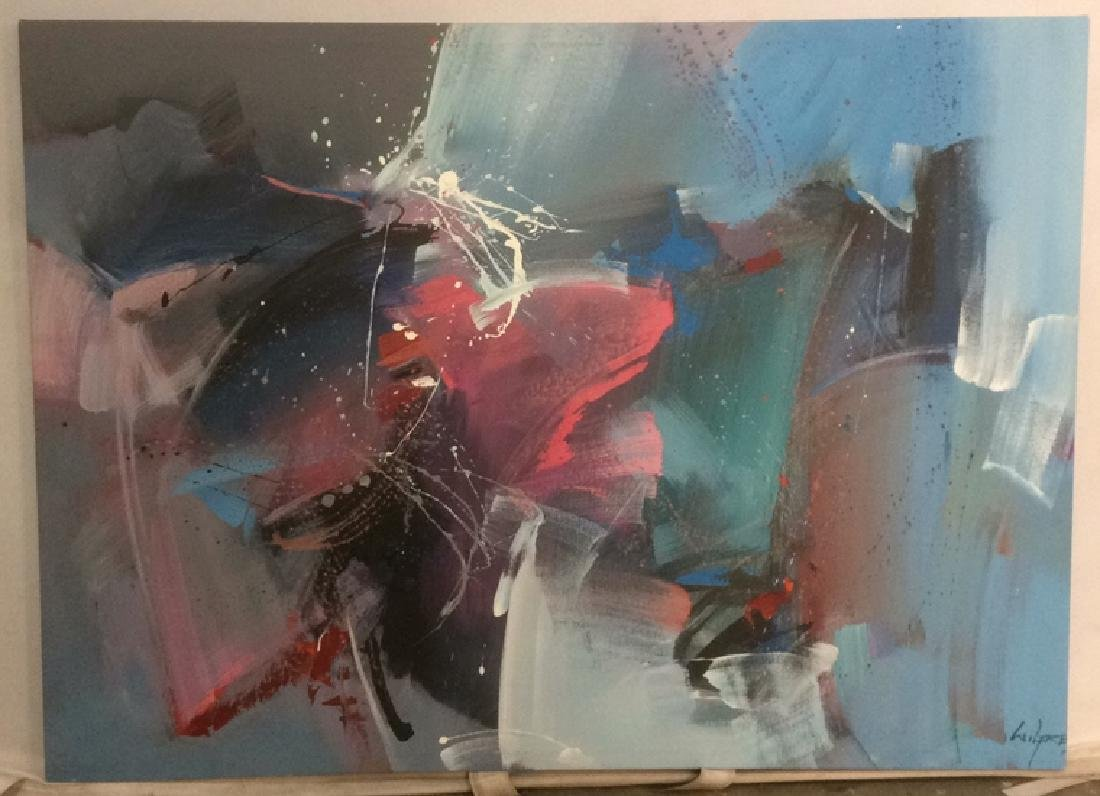 WILFRED Signed Abstract Painting On Canvas