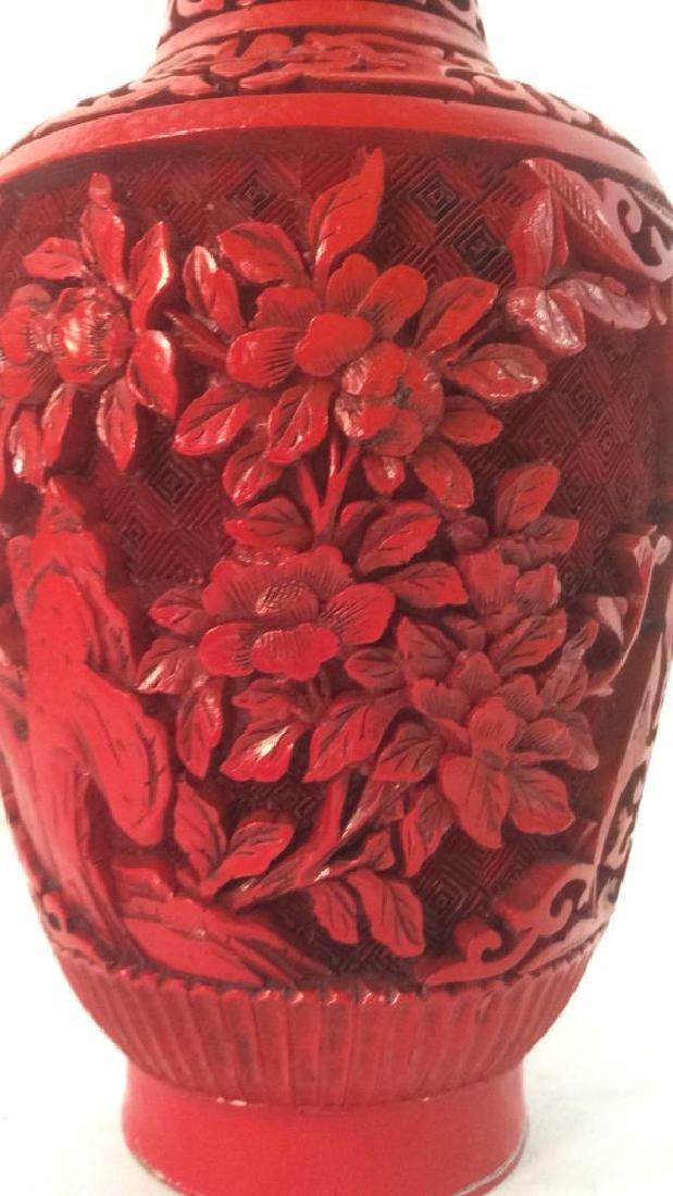 Oriental Cinnabar Carved Enameled Vase
