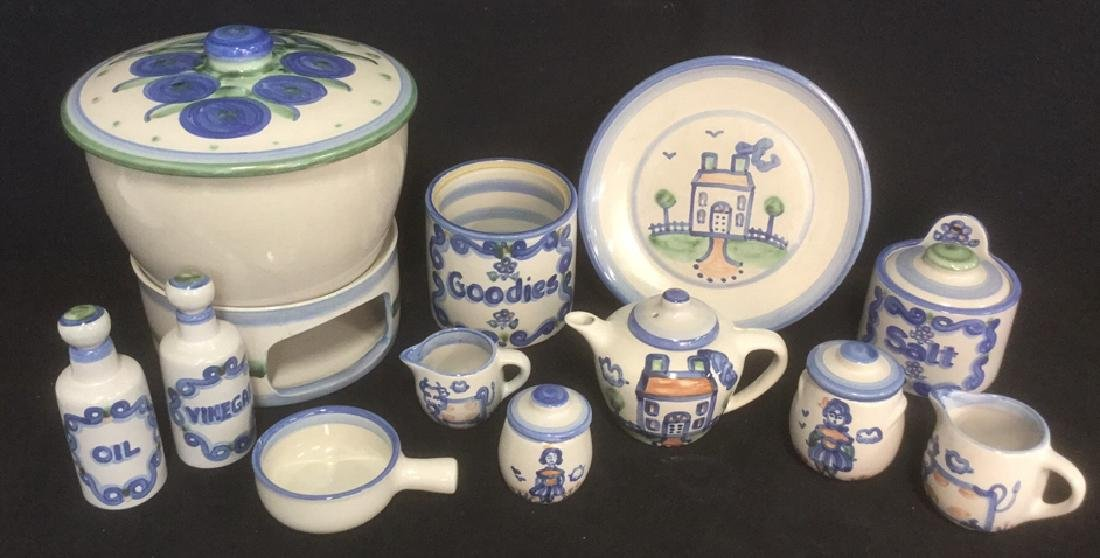 Lot 13 Studio Pottery M. A. Hadley Country Pattern