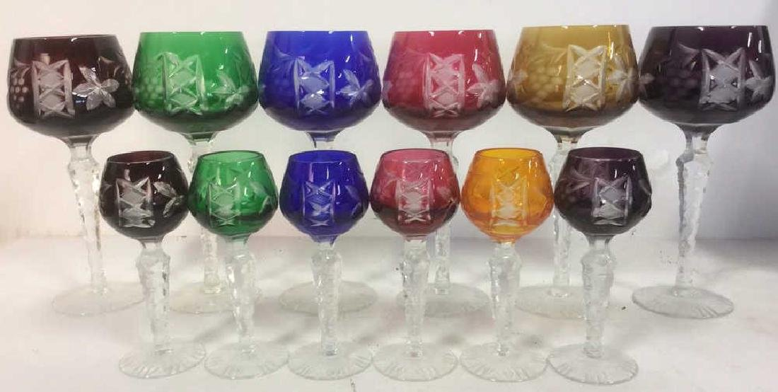 Lot 12 Crystal Etched & Frosted Bohemian Glasses