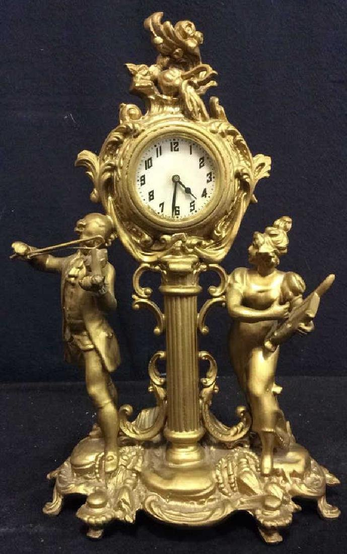 Antique Gold Toned Ornate Figural Desk Clock