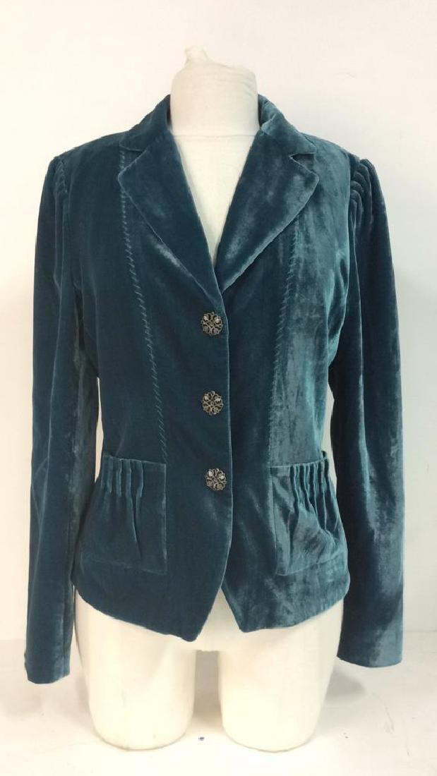 TAHARI Blue Toned Velvet Women's Dress Jacket