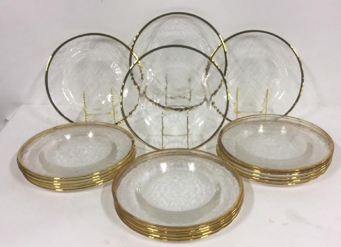 Lot 20 Glass Dinner Plates With Gold Toned Edges