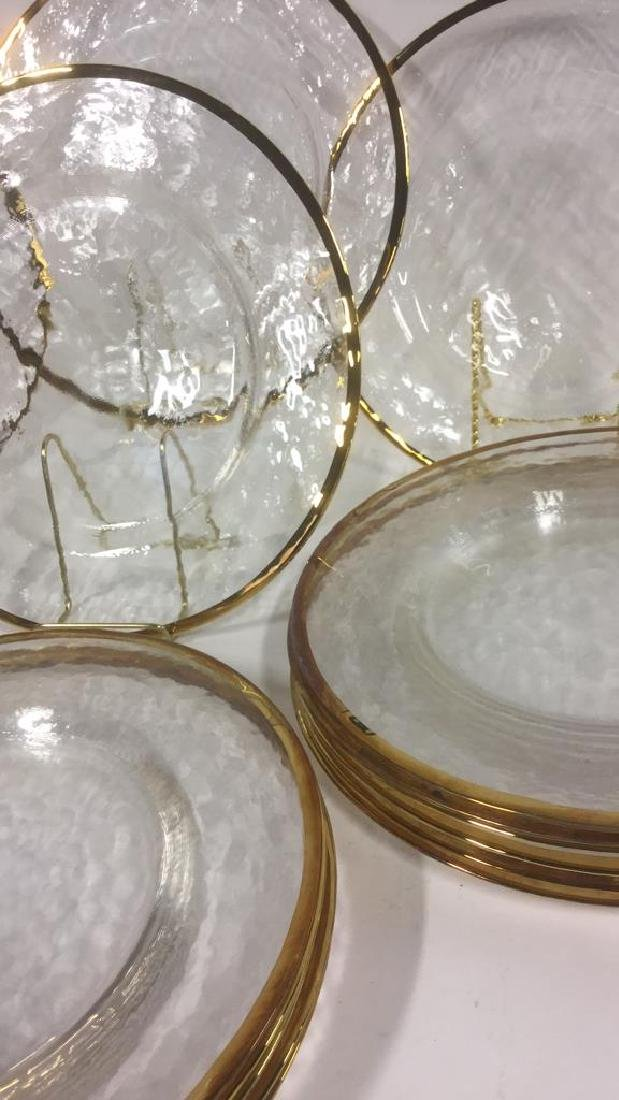 Lot 20 Glass Dinner Plates With Gold Toned Edges - 2
