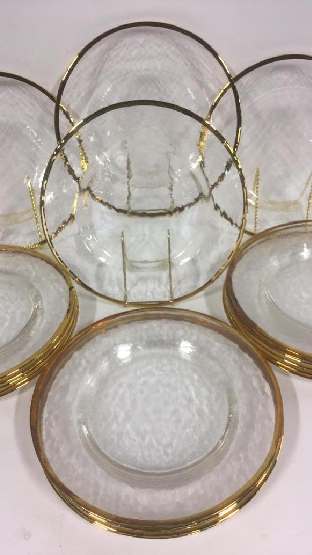 Lot 20 Glass Dinner Plates With Gold Toned Edges - 3
