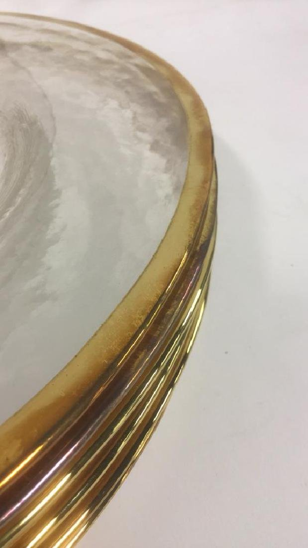 Lot 20 Glass Dinner Plates With Gold Toned Edges - 4