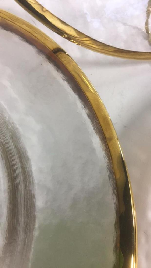Lot 20 Glass Dinner Plates With Gold Toned Edges - 5