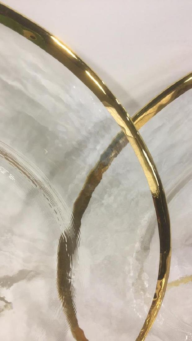 Lot 20 Glass Dinner Plates With Gold Toned Edges - 6
