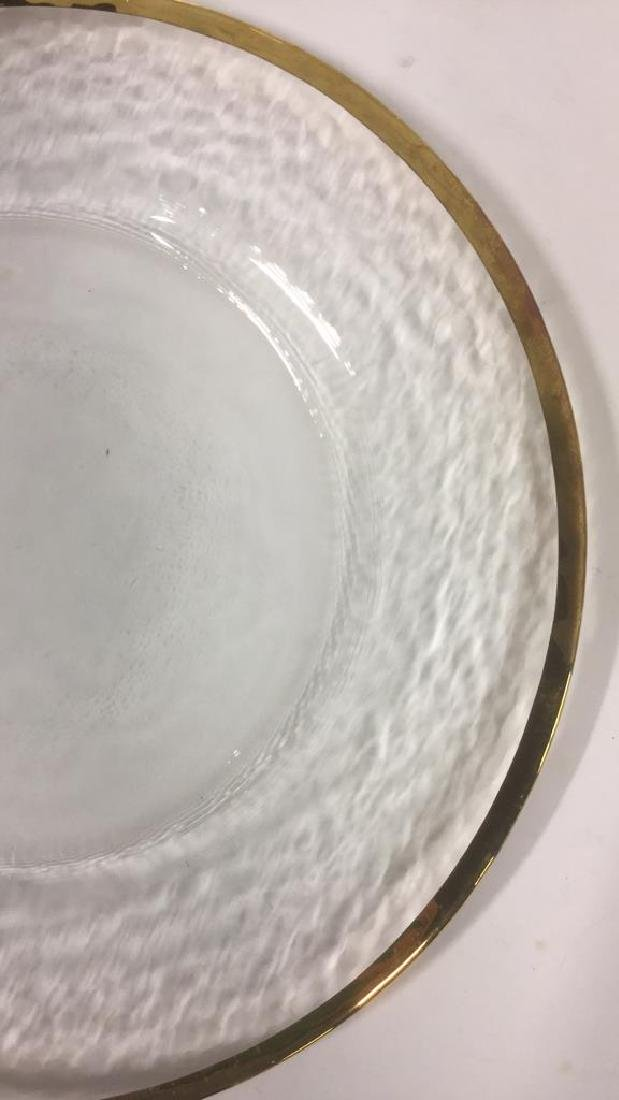 Lot 20 Glass Dinner Plates With Gold Toned Edges - 8