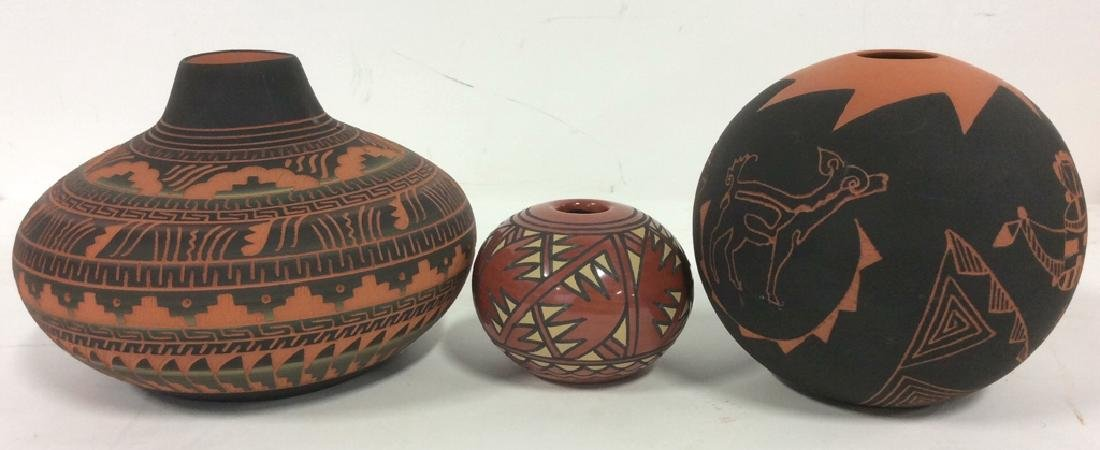 Lot 3 Ceramic Native American Navajo Pottery - 10