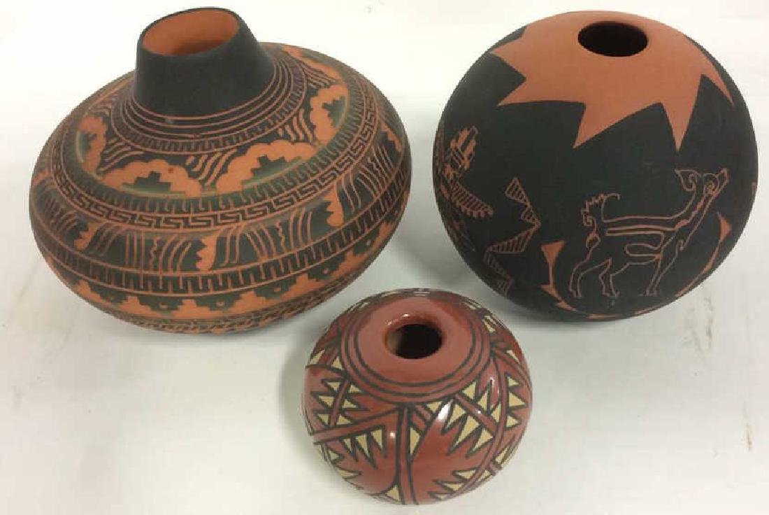 Lot 3 Ceramic Native American Navajo Pottery - 2