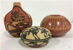 Lot 3 Signed Native American Ceramic Pottery