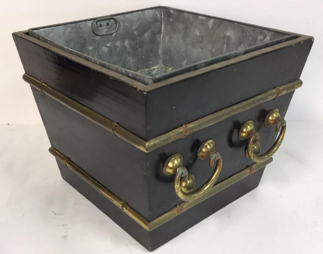 Black And Brass Toned Metal Planter