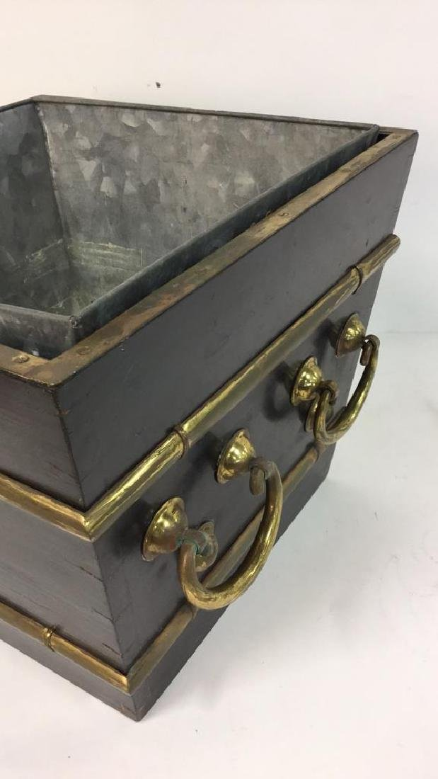 Black And Brass Toned Metal Planter - 5