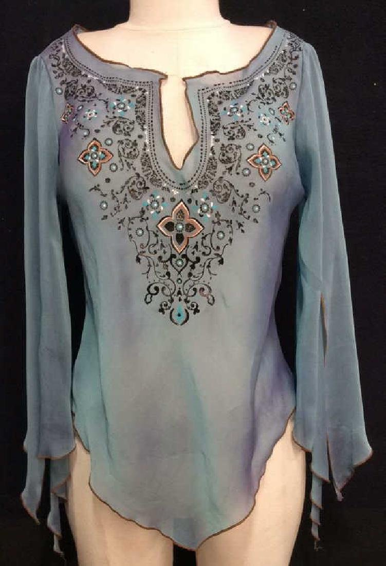 FANG Silk top with Painted Border Detail