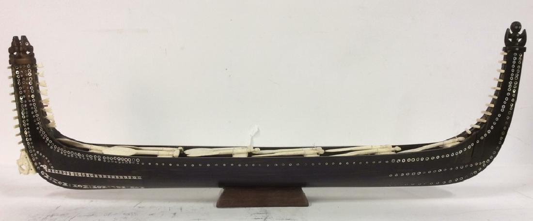 Vintage African Wood & Bone Carved Ship Model - 2