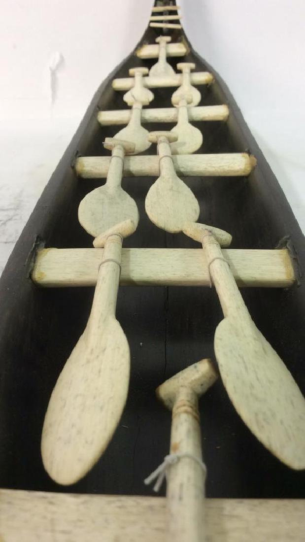 Vintage African Wood & Bone Carved Ship Model - 7