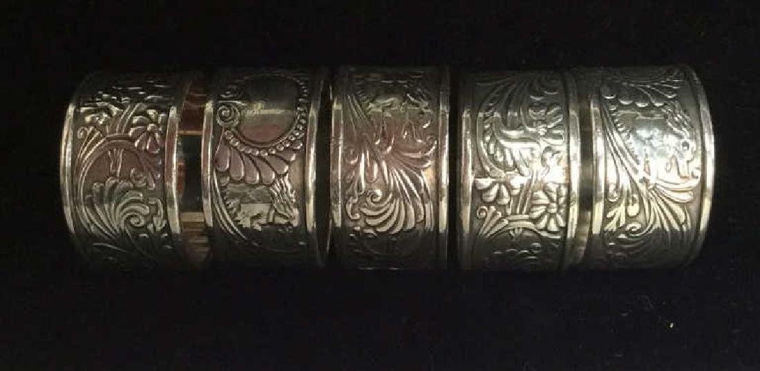 Art Deco Silver Toned Metal Napkin Rings