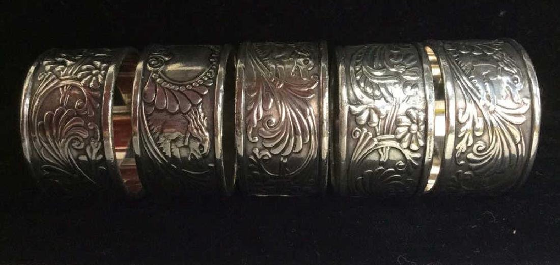 Art Deco Silver Toned Metal Napkin Rings - 2