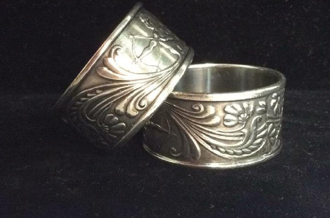 Art Deco Silver Toned Metal Napkin Rings - 3