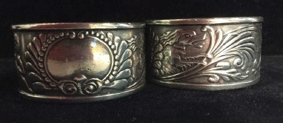 Art Deco Silver Toned Metal Napkin Rings - 5