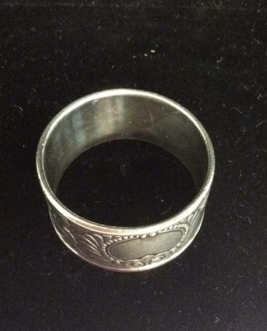 Art Deco Silver Toned Metal Napkin Rings - 6