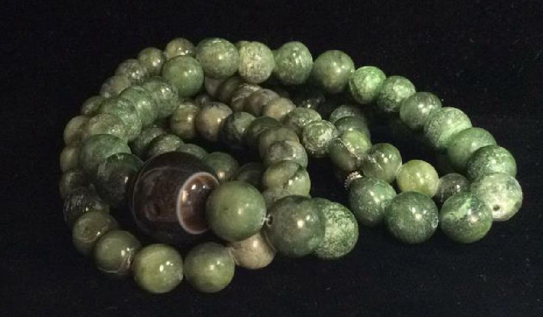Lot 2 Matching Green Toned Natural Stone Necklaces