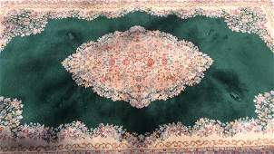 KARASTAN Green Kerman Medallion Wool Rug