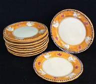 Set 10 Hand Decorated Italian Earthenware Plates