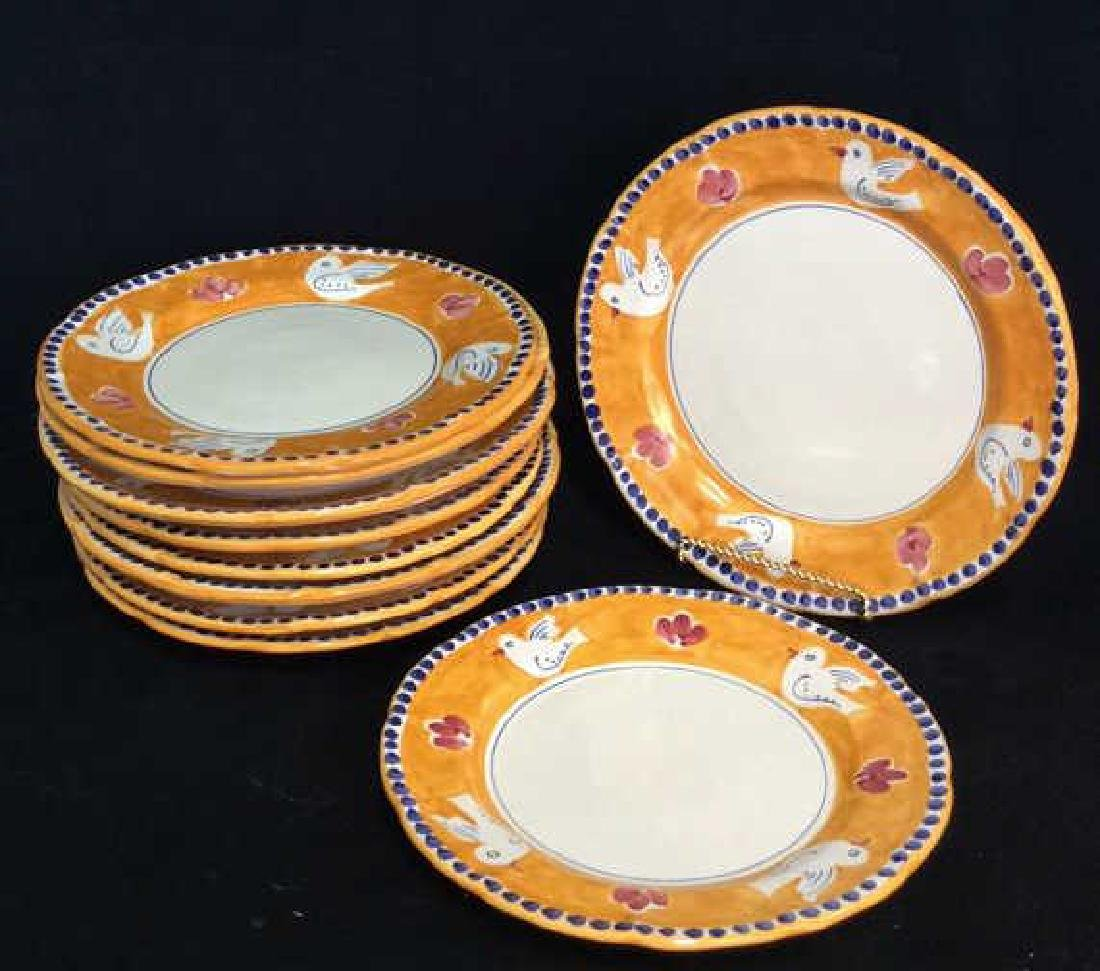 Set 10 Hand Decorated Italian Earthenware Plates