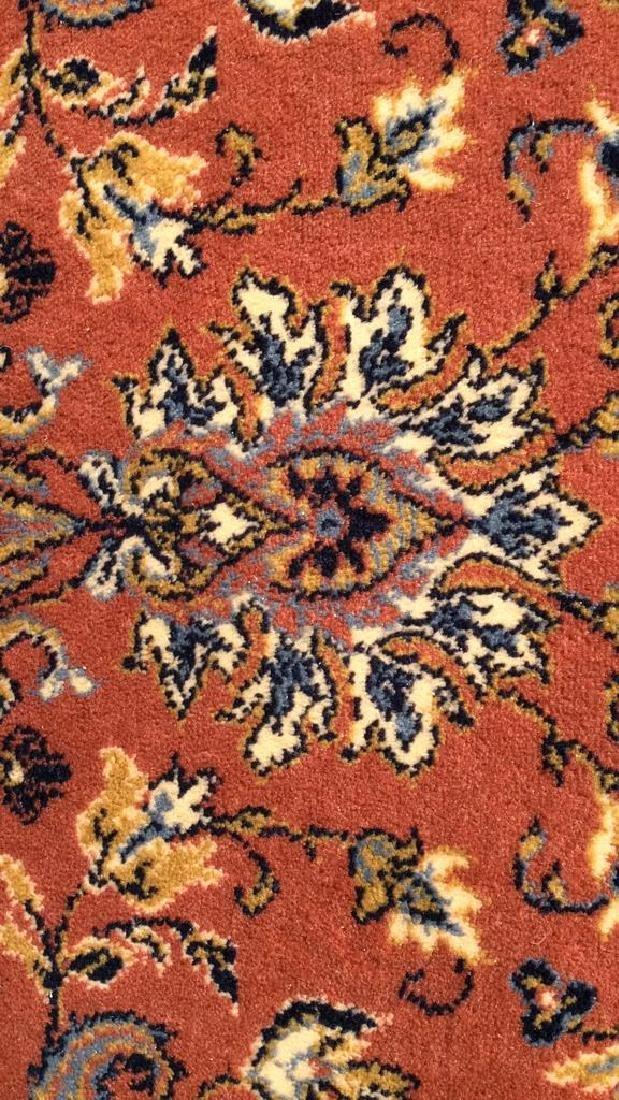 Floral Motif Detailed Fringed Wool Rug - 4
