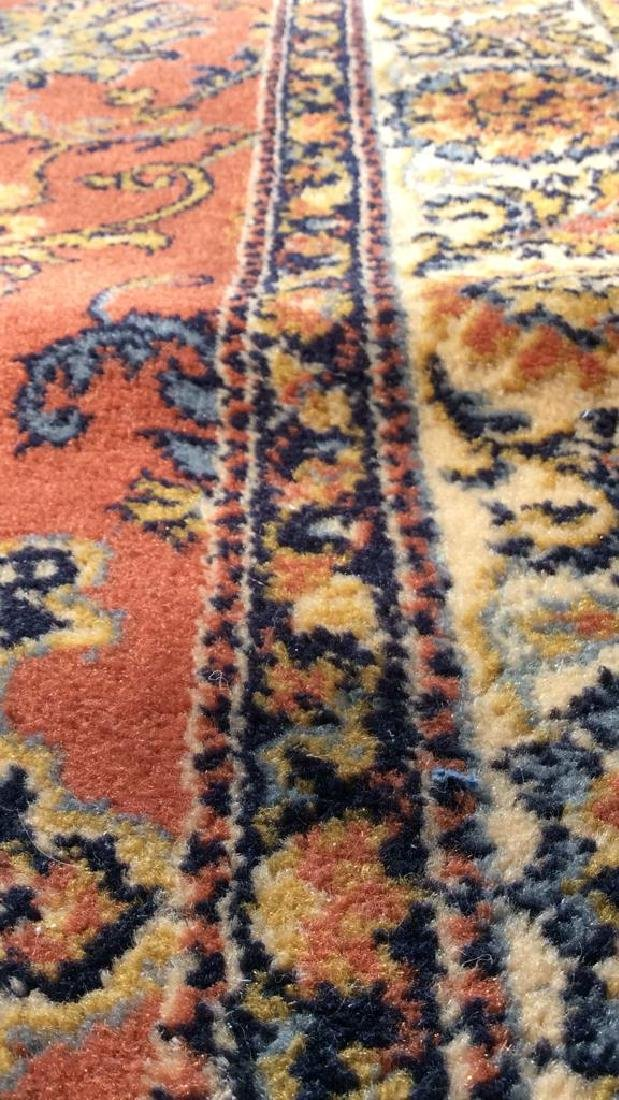 Floral Motif Detailed Fringed Wool Rug - 5