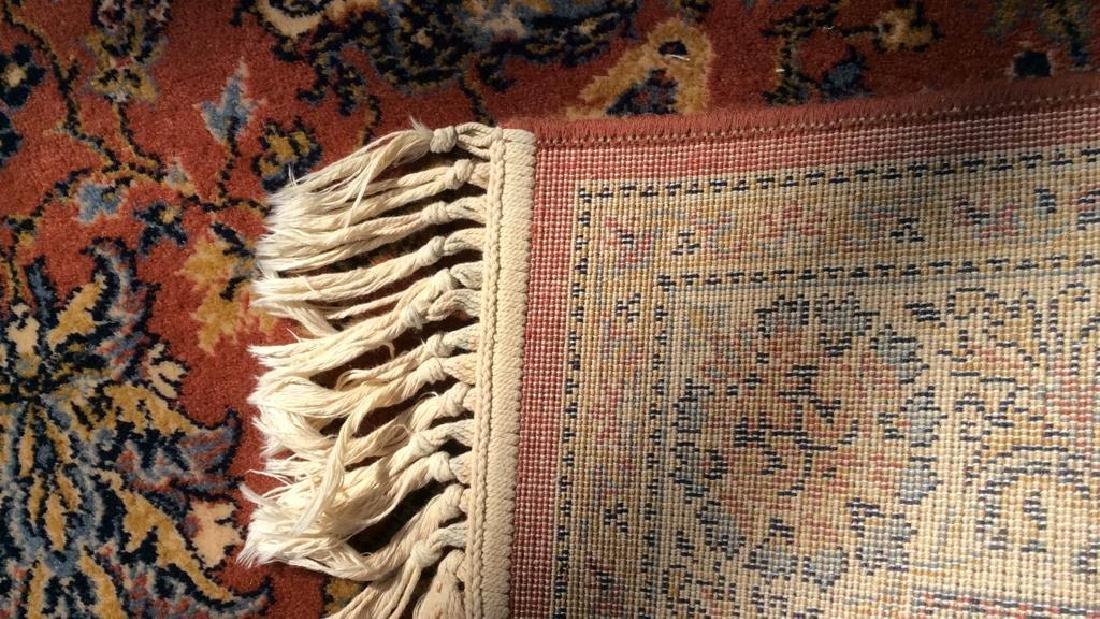 Floral Motif Detailed Fringed Wool Rug - 7