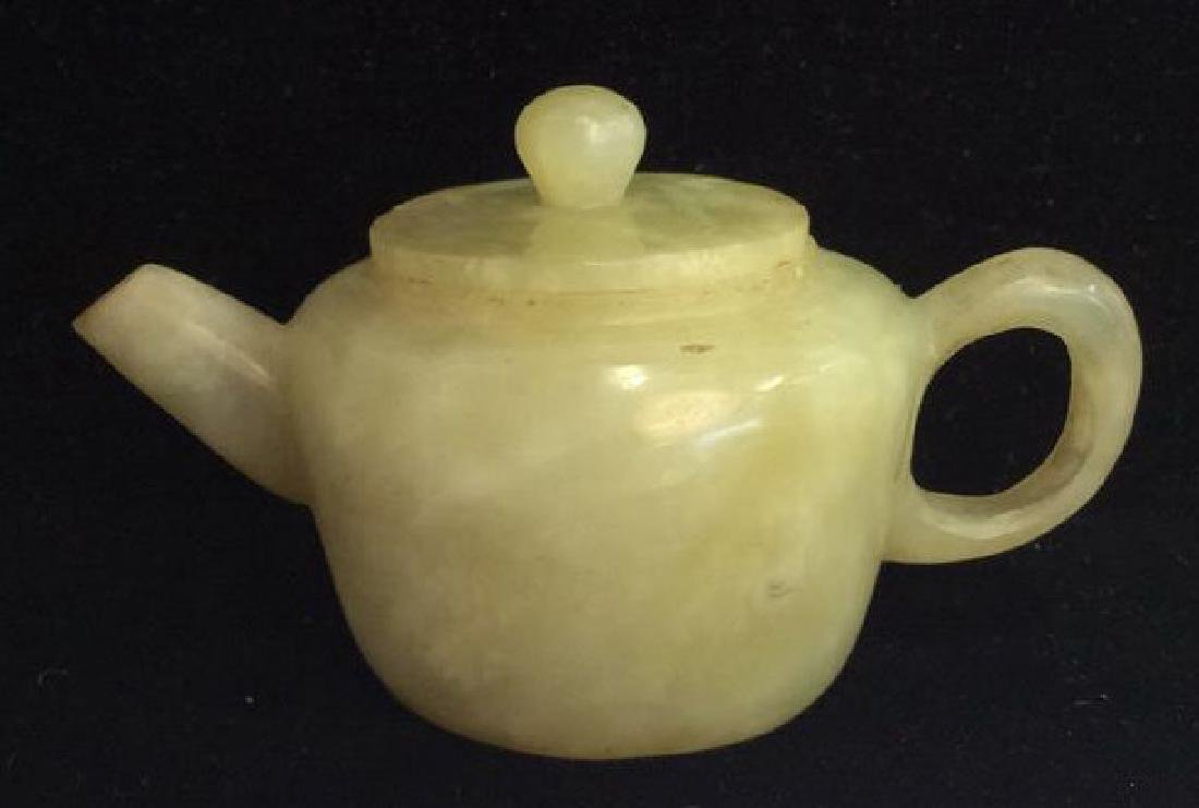Vintage Natural Stone Carved Teapot