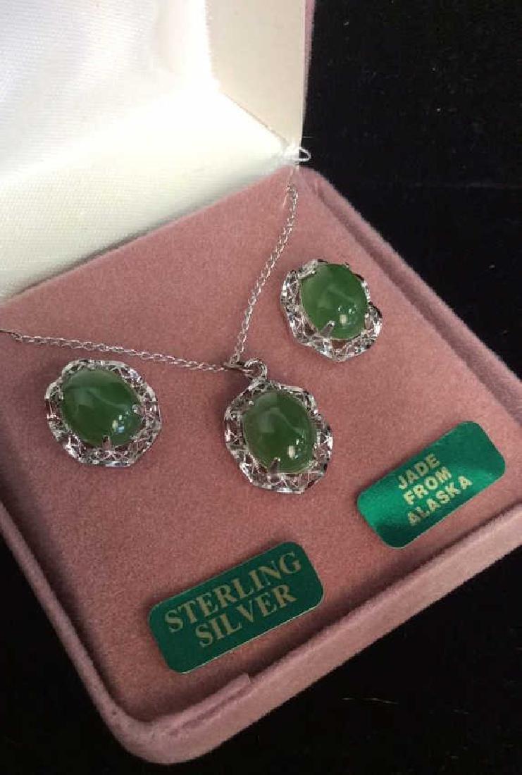 Lot 2 Sterling Silver W Jade Necklace&Earrings
