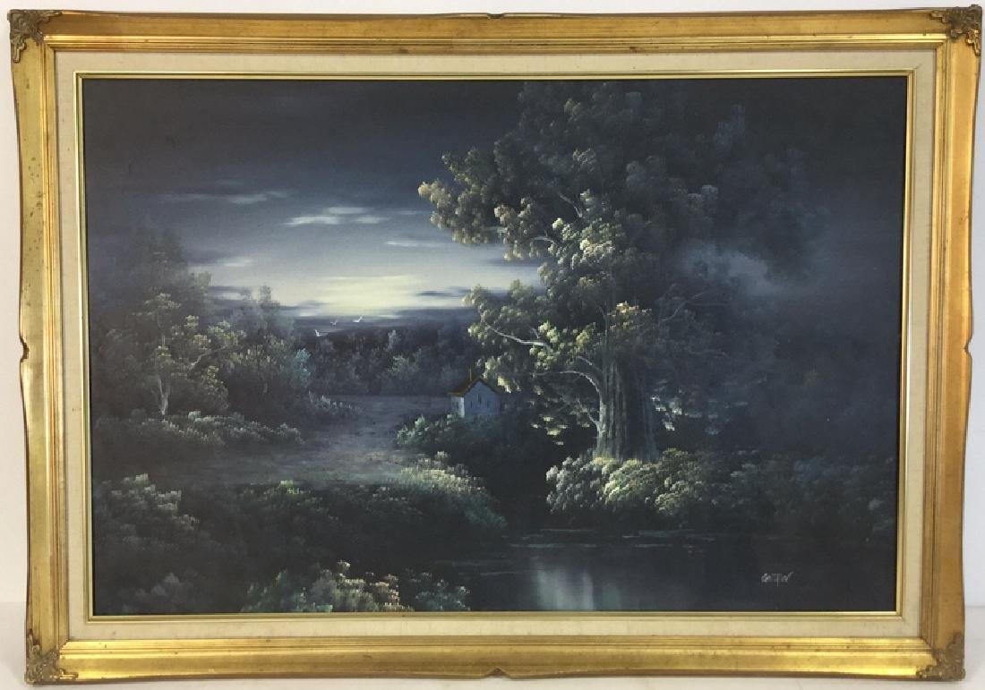 Framed Landscape Painting By Gaston