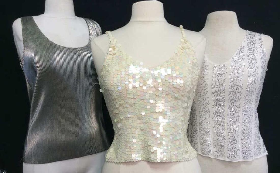 Lot 3 Sequin Ladies Fashion Tank Tops