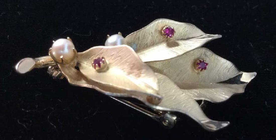 Gold Filled Leaf Figural Pin Brooch Jewelry - 2