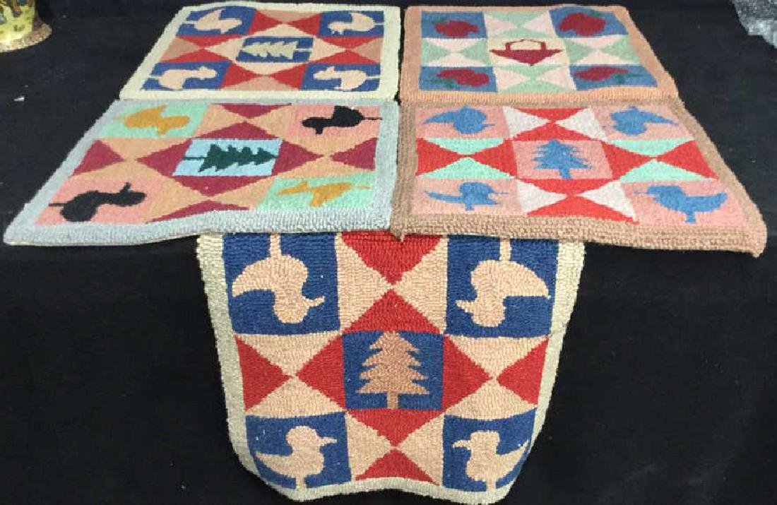 Lot 5 Hand Hooked Folk Art Craft Squares