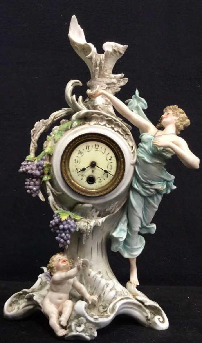Antique Art Nouveau Porcelain Clock C.1900's