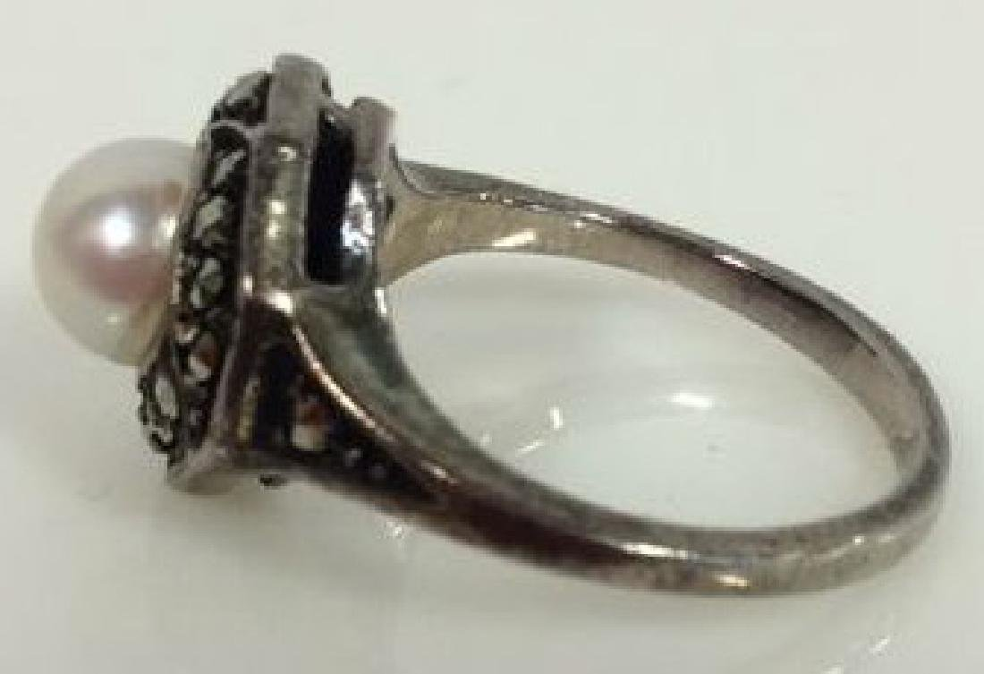 Sterling Silver Ring W Pearl Estate Jewelry