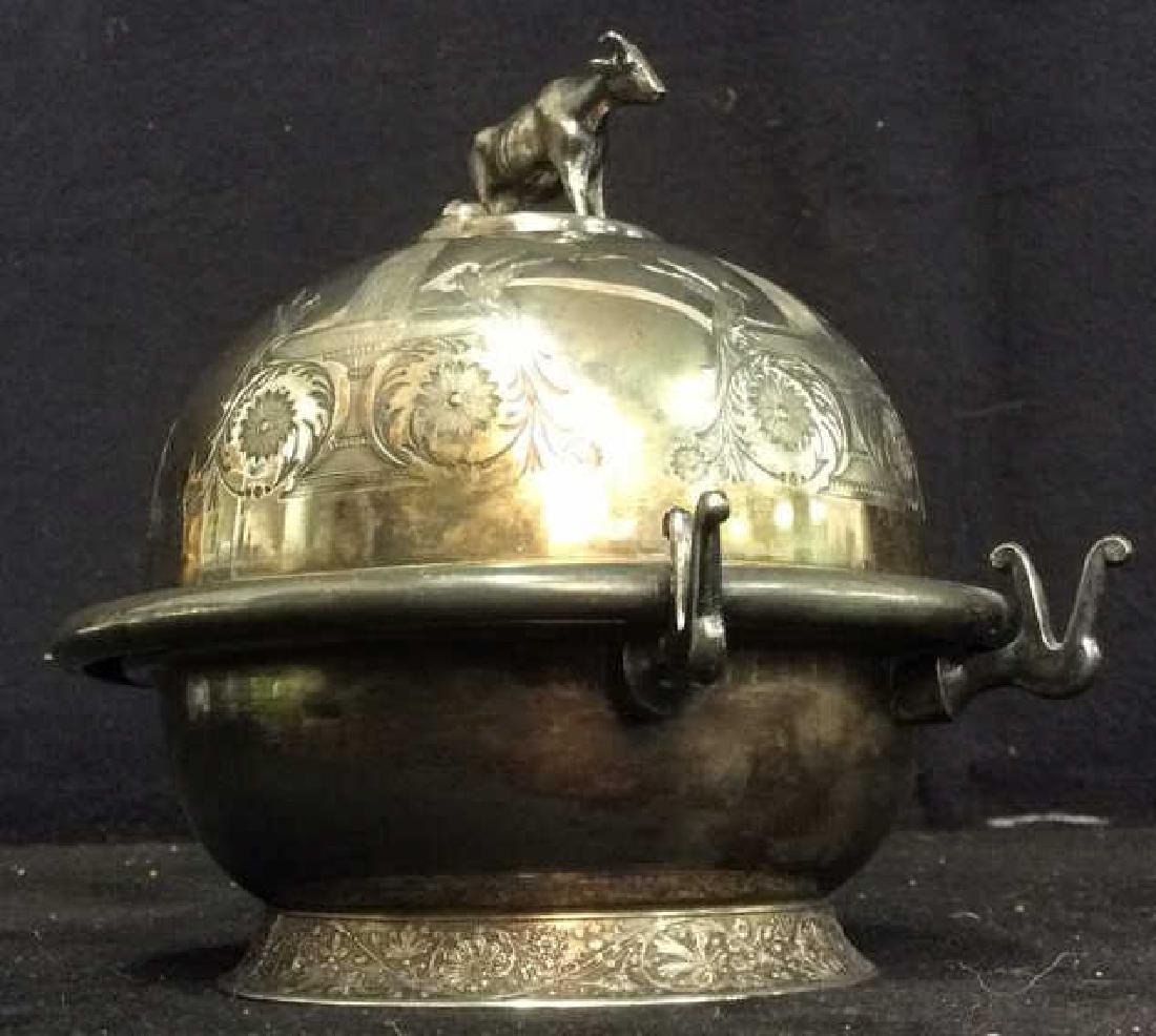 Antique Victorian SilverPlate Detailed Butter Dish