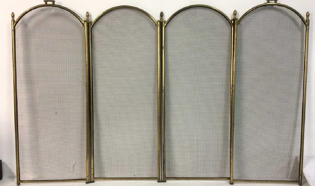 Gold Toned Brass Fireplace Screen