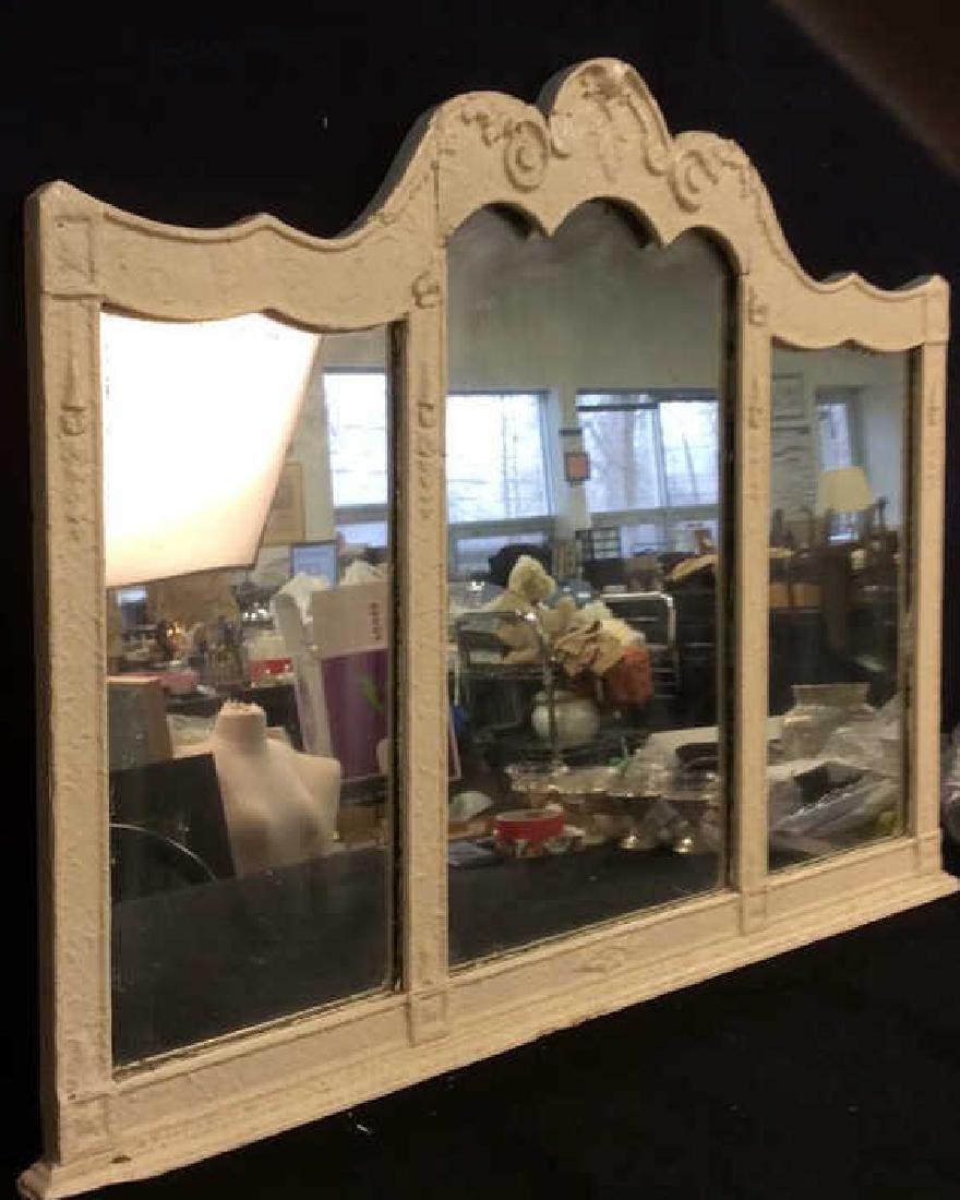 Vintage Carved Wooden 3 Panel Mirror