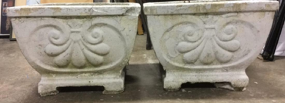 Pair Large White Toned Stone Planters