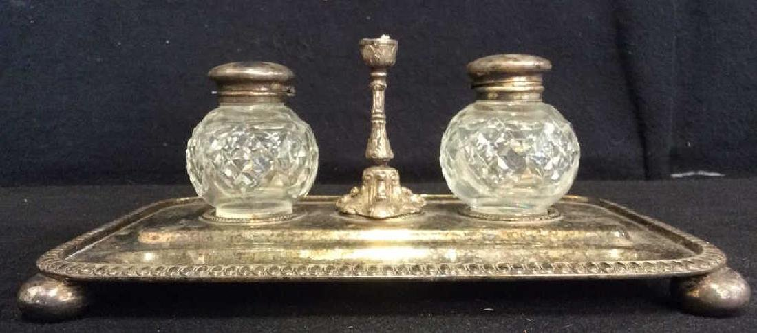 Antique Walker & Hall Sheffield English Inkwells